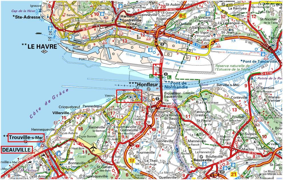 pont de normandie carte Honfleur 2013